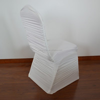 Ivory ruffled spandex wedding chair cover for sale