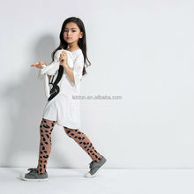Hot style children little girls cotton pantyhose with black patches wholesale supply customized