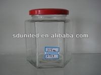 different size clear 200ml hexagon glass jar