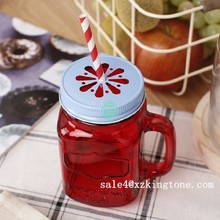 400ml 14oz Drink Jar Juice Jar Glass Jar with handle and lids 2015 new product