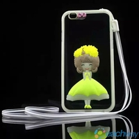 New Arrival Ultra Thin Transparent TPU Flower Flash Powder Case For iPhone 6
