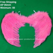 Wholesale 50 Small Pink Feather Angel Wings, Free Shipping