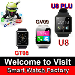 Popular Colors Touch Screen android u8 smart watch 2015, china best android smart watch phone