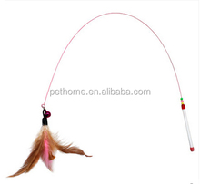 2015 stock long steel wire with feather and bell cat playing rod