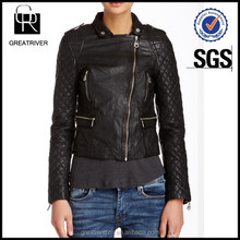 Quilted Sleeve Leather Motorcycle Jacket