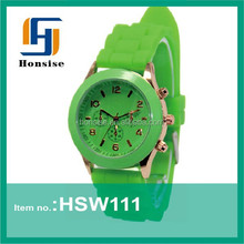 Popular custom silicone ladies fancy wrist watches fashionable inexpensive womens green watches