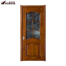 Contemporary Family Room door decorative half-glass insert grille design wooden door for North America Market