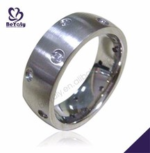 Preferential cz set shiny wholesale sweet stainless steel men ring