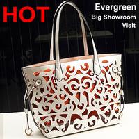 2015 wholesale genuine leather handbag Mexico Hollow shoulder handbag made in pu leather