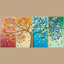 Wall decortion abstract tree multi-panels oil painting