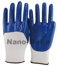 NMSAFETY back open nitrile coated polyester gloves/13G nitrile coated gloves