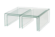 2015 modern hot bent glass nesting coffee table