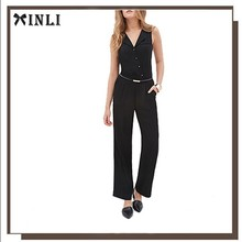 Pleated Button Custom Made Sexy Sleeveless Plus Size Korean Fashion Black Jumpsuit for Women