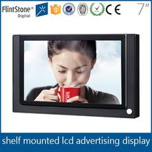 Flintstone 7 inch motion sensor non loop playing, lcd screen plastic casing advertising indoor led display