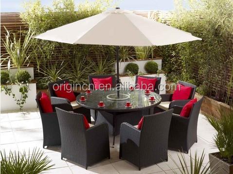 8 인승 야외 등나무 웨딩 라운드 테이블 우산 구멍 이벤트 의자 ...