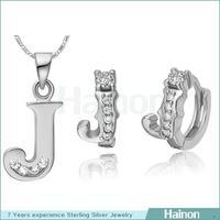 Hainon provide alphabet jewelry set letter J ring pendant sets