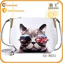 2015 fashion cat lovely bag printing leather shoulder bag Guangzhou factory supplier