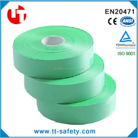 polyester colorful reflective strips lime green reflective tape for Leisure clothes bags