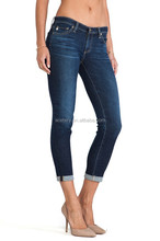 Brand New Design for The Women Cropped Dark Black Jeans with High Quality