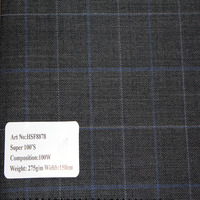 High Quality Woven Grey Background Color Blue line Plaid 100% Wool Fabric