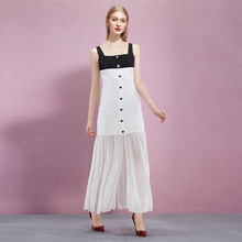 YIGELILA 2015 Hot Sale Womens Maxi Long White And Black Spaghetti Strap Bodycon Summer Dresses Online For Party 61044