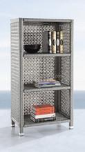 Aluminium plastic rattan book shelf