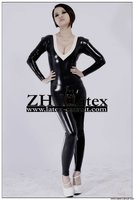 2011 Black Sexy rubber catsuit/leather clothes,Natural latex catsuit/zentai,