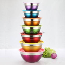 7PCS colorful stainless steel fruit and vegetable bowl with plastic lid