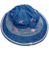 summer embroidered jean cotton twill baby split joint bucket cap
