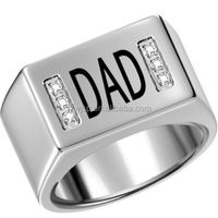 SIZE 7-15 DAD Stainless Steel Ring Silver Polished Father's Gift Birthday Wedding Family with black epoxy & cnz setting stone