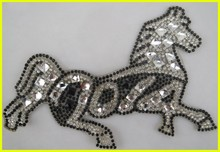 Wholesale Running Horse Style Applique Crystal Rhinestone Patch for T-shirt Dresses