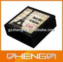 Hot!!! Customized China Foreign Culture Design Painting Black Wooden Jewelry Box For Celebration Gift(ZDW13-012)