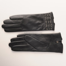 Women Autumn Winter Leather Gloves,Fashion Black Wool Lined Leather Gloves