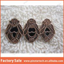 Custom Wholesale Three Wise Monkeys See Hear Speak No Evil Enamel Metal Lapel Pin Badge