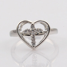 New arrival inexpensive product wholesale christian jewelry sparkling rhinestone bead cross decoration in sweetheart ring