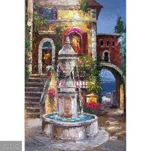 100% Handmade impressionist landscape art Italian Tuscan Sea Beach Estate Fountain oil painting