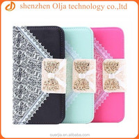 Fashion bow wallet card slot pu leather case for samsung, leather pouch case for samsung galaxy s5