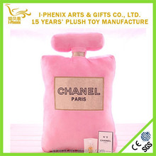 Hot selling fashional shape perfume plush pillow market in demond perfume custom plush pillow