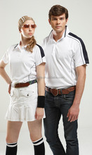 CE1220 Two contrast stripes and panel on the shoulders Contrast piping on each side Ribbed style collar polo shirt