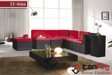 living room furniture high quality rattan/wicker sofa with coffee table and flower pot