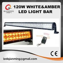 21.5inch 120w amber white led light bar for off road/4wd/ute/truck with remote