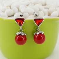 Fashion Cute Triangle Rhinestone Earring Jewelry High Quality Earrings Women Earrigs Sample Free