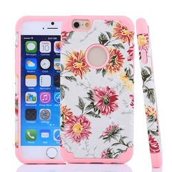 stylish flower print jean cloth puch cover for iphone6 case with silicion inside