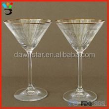 Vodka Cocktail Stem Glass Container V Shaped Gold Rim Martini Glass