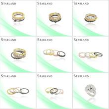 Starland oro Micro Pave configuración joyería del anillo de plata patrones de diseño