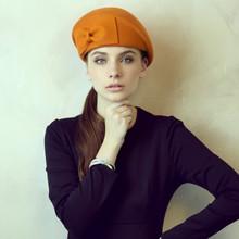 Venta al por mayor de encargo 100% lana Bowknot francés boina sombrero