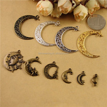 Hot metal crescent moon pendant, classical crescent moon charm for girls