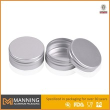 Aluminum round small metal hinged lid tin box