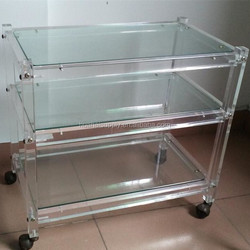 Acrylic Hotel Food Cart Design Service Trolley With Wheel