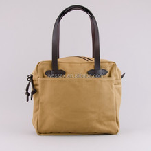 100% Canvas Twill Tote Bag Zippered Tote Bag With Leather Handle High Quality Tan Cotton Handbag